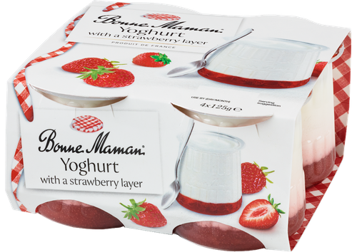 Yoghurt with a Strawberry layer